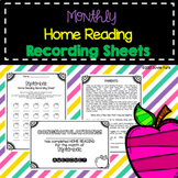 Home Reading Monthly Recording Sheets PLUS Intro Letter & Certificates