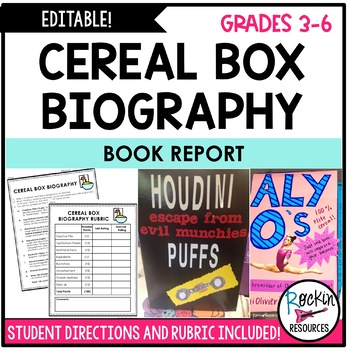 Book Report Cereal Box Biography By Rockin Resources Tpt
