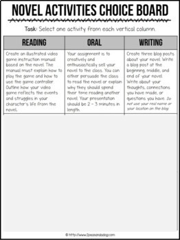 Book Report Choice Board