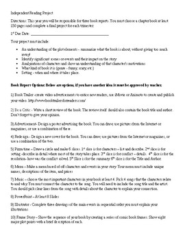 Book Report Choices and Rubric