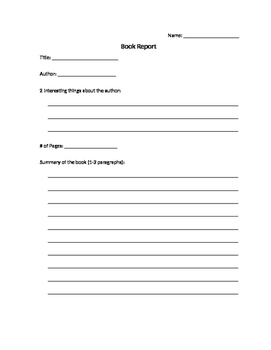 Book Report (Developmental Reading)