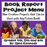 Book Report Projects Menu, Use With Any Fiction Book!