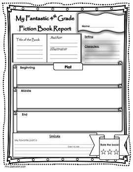 Book Report Fiction and Non-Fiction 4th Grade