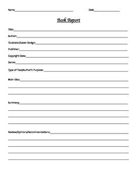 Book Report Form