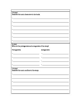 Book Report Form/Organizer