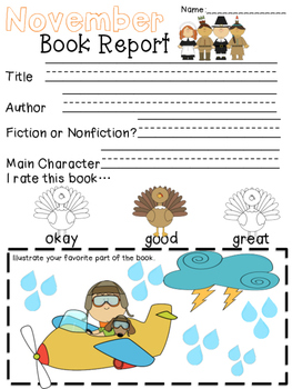 Book Report Forms Fiction and Non Fiction Packet 3-Monthly