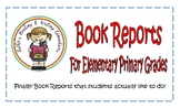 Book Report Forms for Elmentary Primary Grades