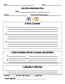 Book Report Forms for Fiction and Non-Fiction