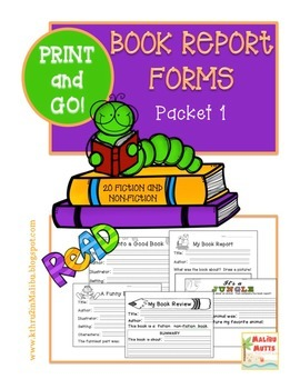 Book Report Forms Fiction and Non Fiction