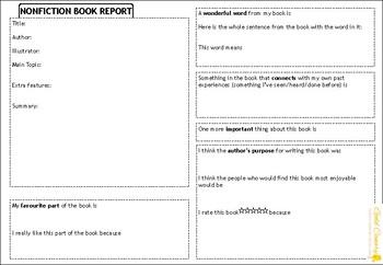 Book Report Graphic Organiser Template