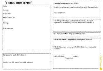 Book Report Graphic Organiser Template