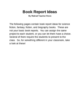 Book Report Ideas