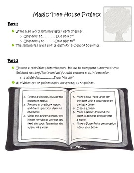 Book Report Ideas/Magic Tree House Project