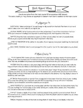 Book Report Menu Term 1