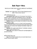 Book Report Menu
