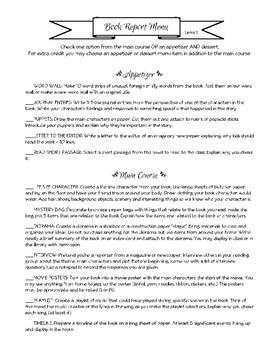 Book Report Menu 3-Term BUNDLE