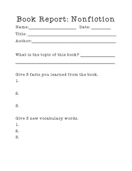 Book Report (Nonfiction)