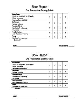 Book Report Oral Presentation Rubric