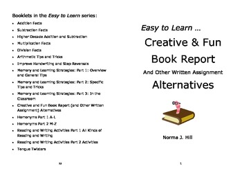 Book Report & Other Creative Writing Alternatives - Easy to Learn Series