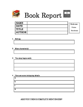 Basic book report outline
