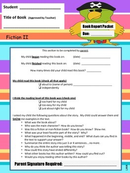 Book Report Packet - Fiction II PDF