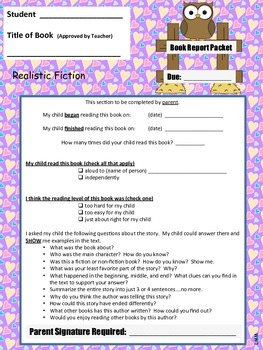Book Report Packet - Realistic Fiction PDF