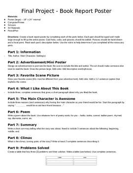 Fiction Book Project and Rubric (book report option)