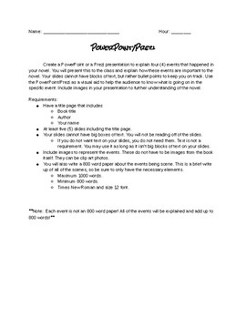 Book Report:  PowerPoint/Prezi
