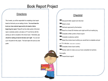 Differentiated Book Report Choice Board Project