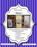 Book Report Project: Restaurant Menu ~ A Creative Alternat