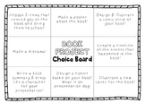 Book Report/Projects Choice Board & Rubric