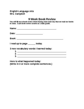 Book Report/Review Daily Note Sheets - SPED MS HS Inclusion/Resource