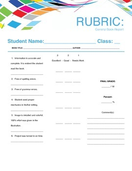 Book  Report + Rubric Form