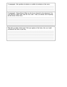 Book Report Rubric & Sample Report