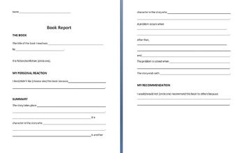 Book Report Scaffold (Middle School)