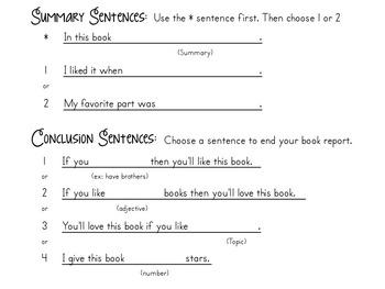 Book Report Sentence Frames