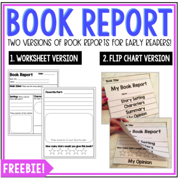 Book Report Flip Chart For Early Readers By Love Create Edu Kate