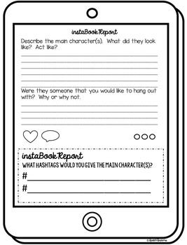 Instagram Book Report Template EDITABLE {classroom fun for any book}