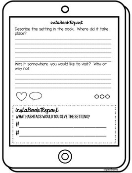 EDITABLE Book Report Instagram Template {classroom fun for any book}