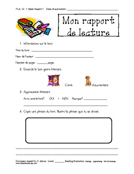 Book report template french immersion primary by teacher boutique book report template french immersion primary pronofoot35fo Image collections