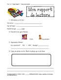 Book Report Template - French Immersion - Primary