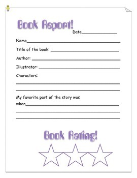 Book Report Template Lower Grades