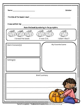Book Report Templates For Every Month of the Year