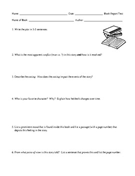 Book Report Assessment for Elementary School Students