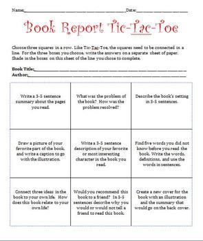 Book Report Tic Tac Toe