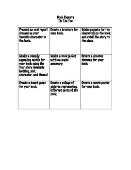 Book Report Tic Tac Toe