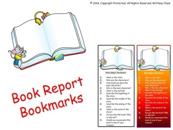Book Report Tipsheet Guideline Bookmark Outline Checklists