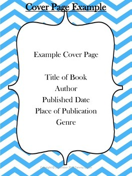 Book Report Instructions Cover Page Example & Rubric Color & B/W