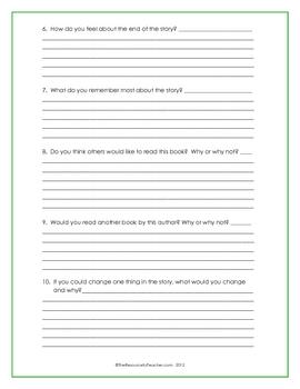 Book Report Worksheet for Presentation
