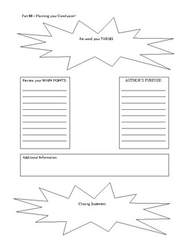Book Report and Book Review Planning Graphic Organizer